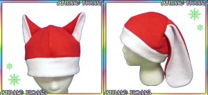 Santa Kitty and Bunny Hats by AnimeNomNoms