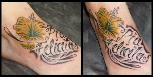 lettering flower tattoo by D3adFrog