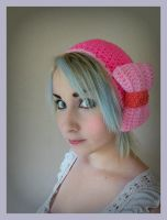 Hot Pink Crochet Beret Hat With Light Pink Bow by Ashler-Sauce