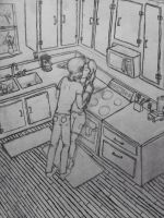 In the kitchen by Adriellovesart