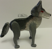 Clay wolf side view by KathieGreyFox