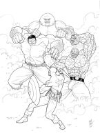Commission art: Cap Bucky and 3 Marvel big guys! by jet2022