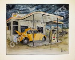 Taxi at abandoned petrol station by gypsysnail