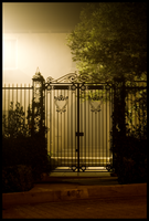 Gate in fog by Italiansmilyface