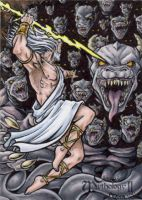 Zeus Vs. Typhon Sketch Card - Tony Perna by Pernastudios