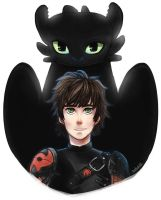Hiccup and Toothless by belistift