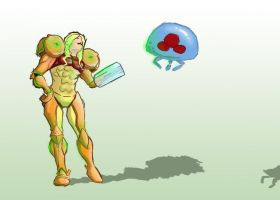 Samus Aran and Metroid by DrGear