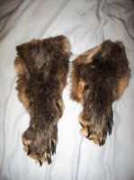 Pair of matched black wolf legskins SALE by CindarellaPop