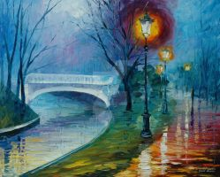 Misty bridge by Leonid Afremov by Leonidafremov