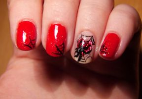 Halloween Nail Art - Spider by Lyralein
