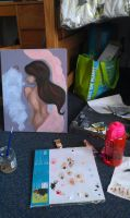 Self Portrait Oil Painting WIP 1 by Ambilia-Scriba