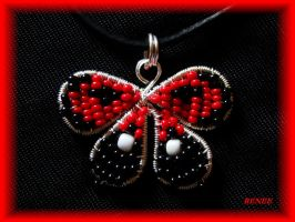 Red butterfly pendant by jasmin7