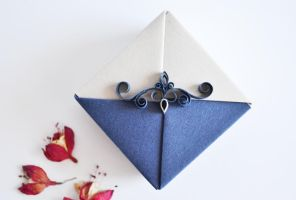 Navy Blue Origami Gift Box by ReverseCascade