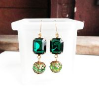 Swarovski Emerald and Peridot Crystal Earrings by crystaland