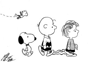 Peanuts - Snoopy, Woodstock, Charlie and Linus by MortenEng21