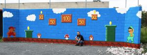Super mario wall paining by AtomiccircuS