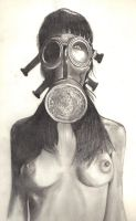 Gas Mask Chick pencil start... by WikkedOne