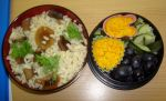 Mushrooms risotto bento by Vetriz