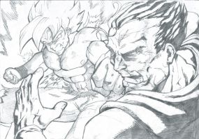 Goku vs Superman by stanmoua