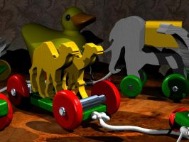Wooden Toys: 3D Rendering in Rhino by AskGriff