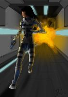 College Work - Space Action Scene by Dave-White