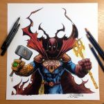 17 Heroes Combined into one Pencil Drawing by AtomiccircuS