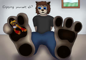 Enjoying Toby's Toes (Art Trade) by TobyMcDee