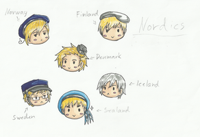 Colored Nordic Chibi Heads by Lemonsmile