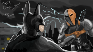 Batman and Deathstroke Gift by DragonzFire95