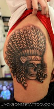 Skull Chief Indian Tattoo by Justin Watters by jacksonmstattoo