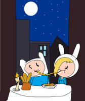 Finn and Fionna-Lady and the tramp by Cartoonfangirl4