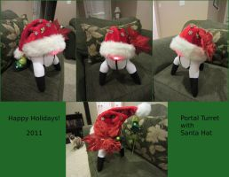 Portal Turret with Santa Hat by Soynuts