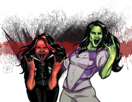 She-Hulks rocking out by jadenwithwings