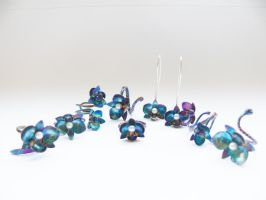 Blue patinated orchids by irineja
