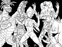 Monsters and Ultraman by strangefour