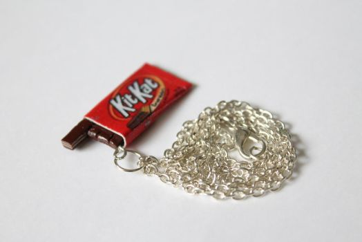 Polymer Clay Miniature KitKat Necklace by ChroniclesOfKate