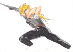 Edward Elric fighting by Ca5sy
