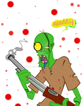 Zombie with a Shot Gun by Baddash