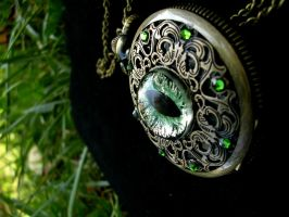 Regal Pocket Watch - Emerald Sunlight Green Eye by LadyPirotessa