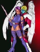 colored Angel and psylocke by normo32