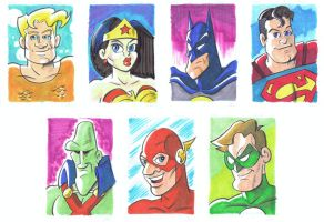 Justice League Sketchcards by tzahler