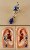 Silver and Lapis Ear Cuff by sylva