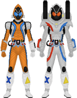 Kamen Rider Fourze, Rocket and Magnet States by Taiko554