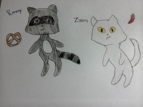 Kwami OC: Punny and Zzero by gingaxh