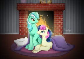 Together at the Fireplace by Amenoo