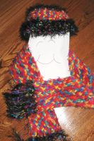 rainbow color scarf scarf set by peaceocake