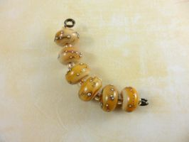 Silver Caramel Lampwork Beads Set SRA by DryGulchJewelry