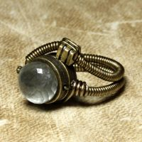 Steampunk ring Moss Aquamarine by CatherinetteRings