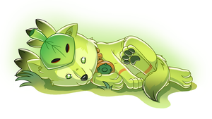 Little green pup by Ammako-chan