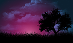 Purple Night Sky by 5p4rk13r